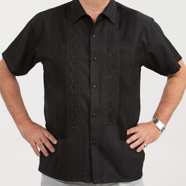 Villa Casdagli dark black guayabera shirt