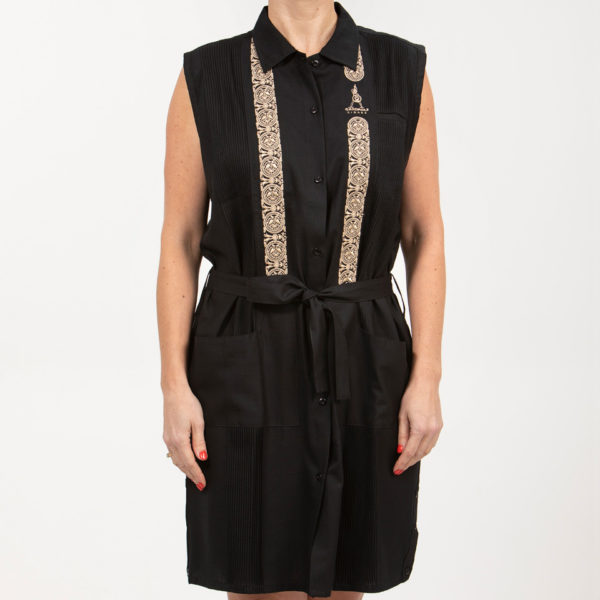 Villa Casdagli black guayabera dress