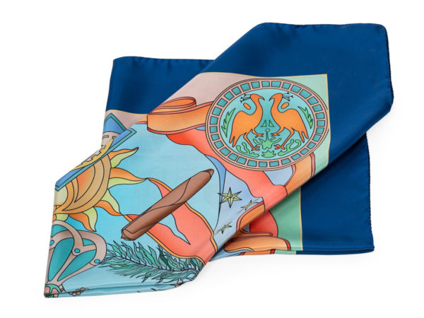 House of Glory silk scarf-blue